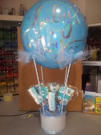 pallone mongolfiera battesimo con caramelle gommose