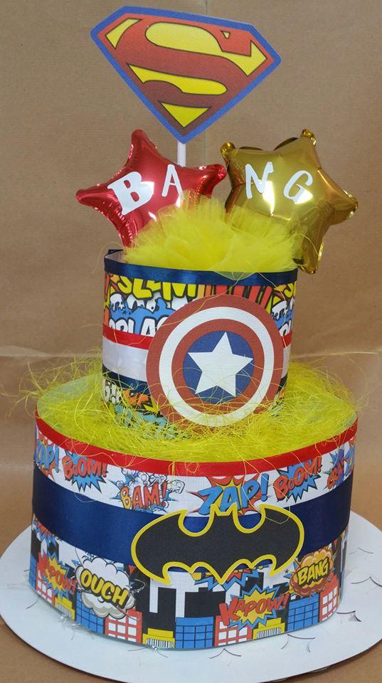 torta pannolini supereroi