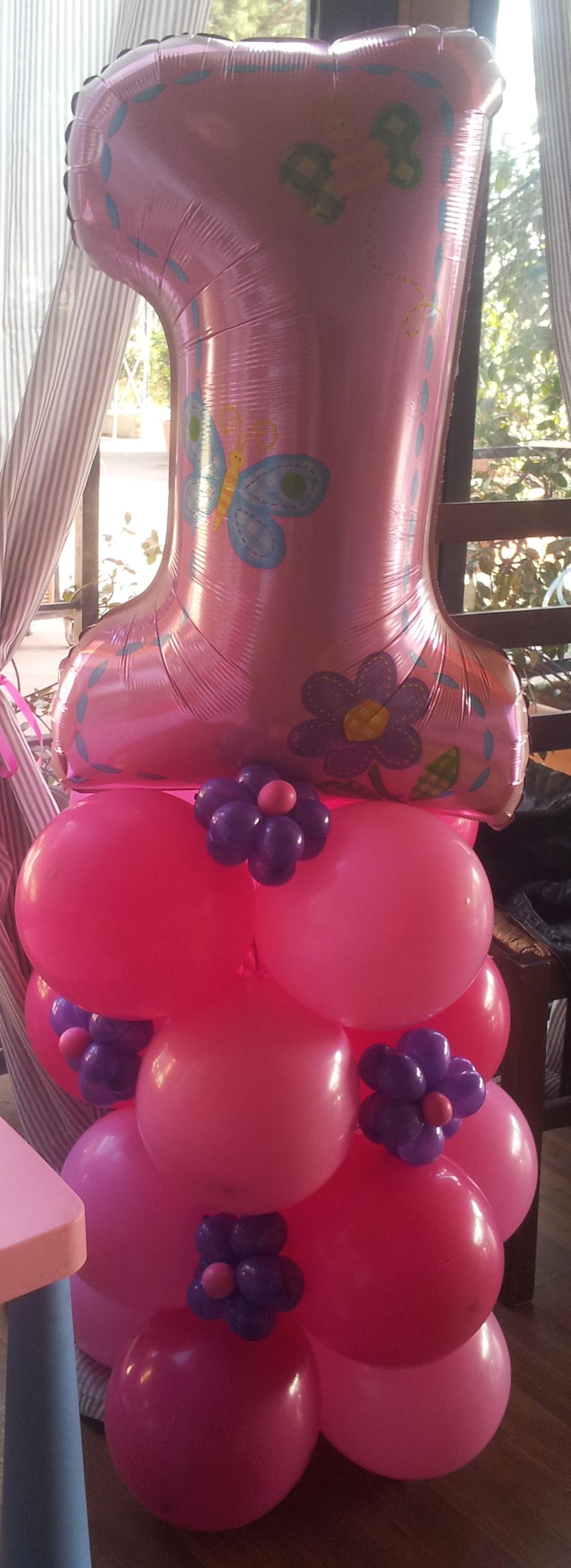 numero uno grande rosa palloncini